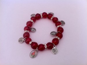 Red St Benedict Bracelet with Medal Charms