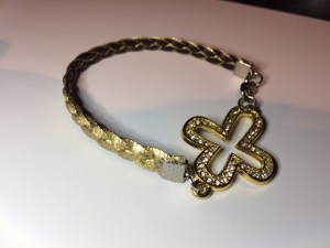 Roman Gold Braided band with Bling Cross